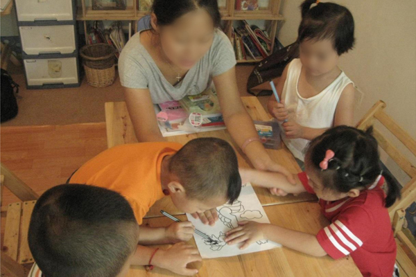 Chinese Homeschool Family Studying